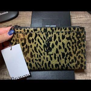 Leopard Saint Laurent Bill Pouch Clutch Wallet